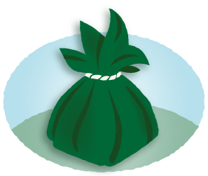 Illustration of traditional offering wrapped in ti leaves